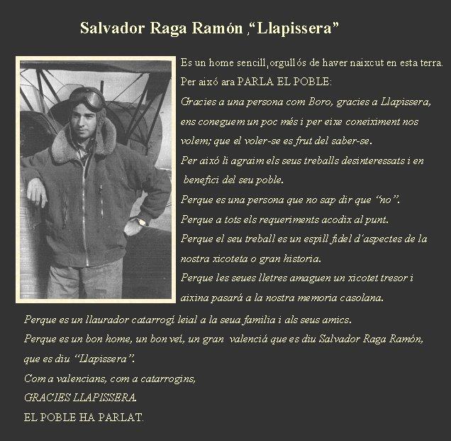 """Salvador Raga Ramón , """"Llapissera"""" ."""