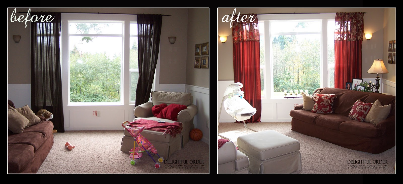 Delightful order before and afters for Living room makeovers