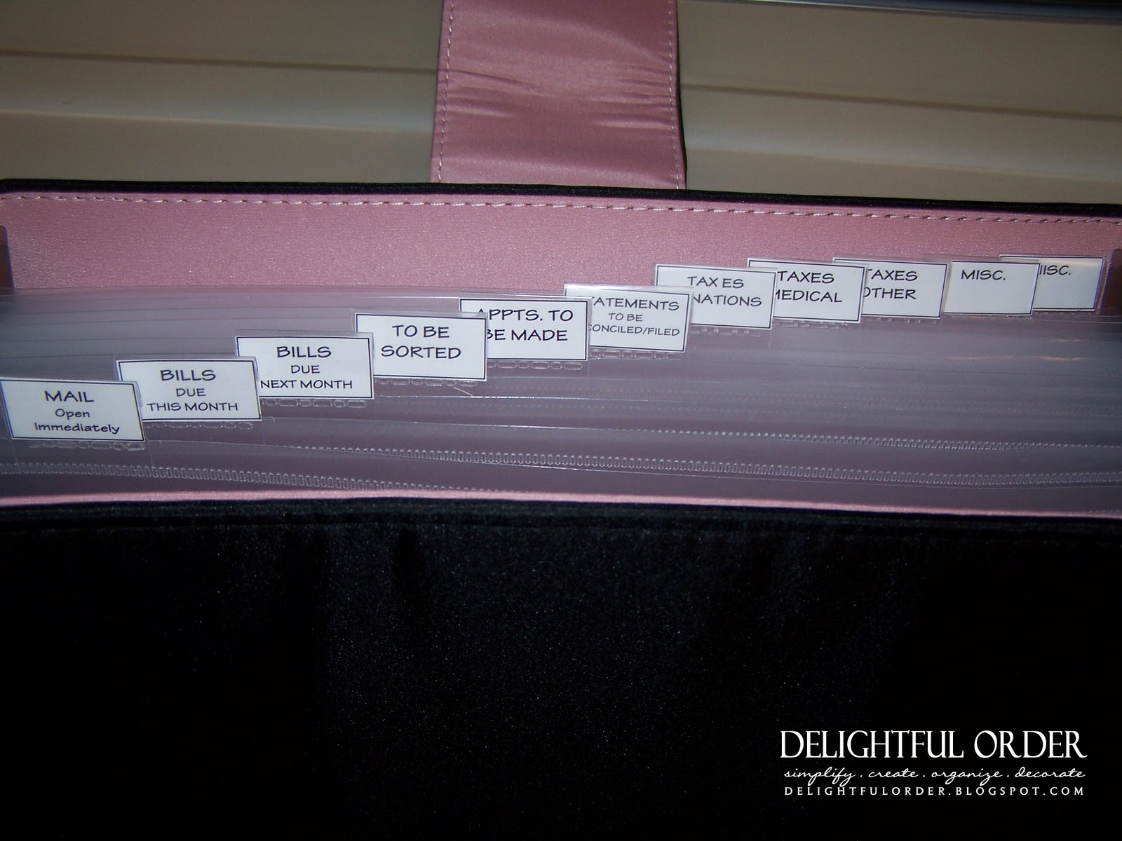 delightful order  bill organizing