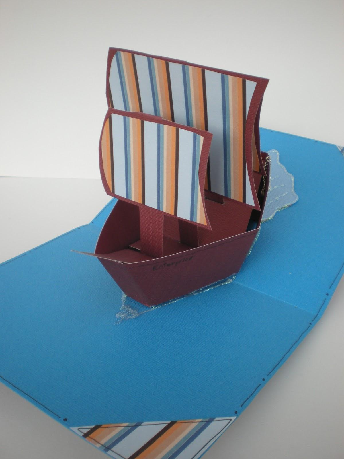 Boot bastelvorlage  Handmade by Bianca: Pop up Grußkarte, extra Spezial - Segelschiff