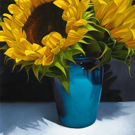 Paintings From The Point Sunflowers In Blue Vase 8x 8