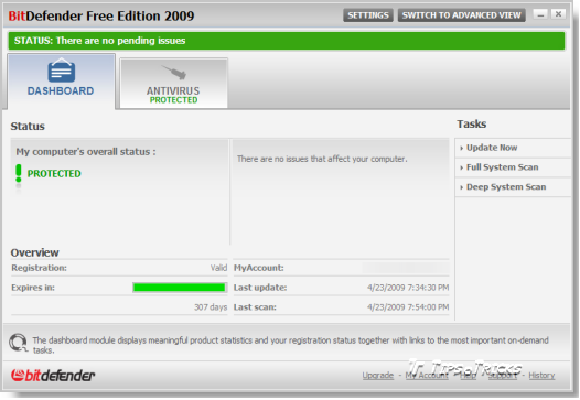 BitDefender Antivirus 2009 FREE Edition - Basic View Screenshot