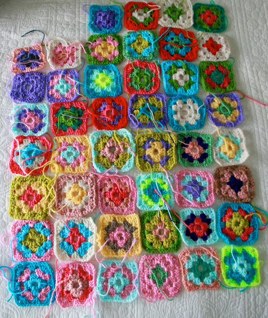 ... making a full-sized granny square blanket. This is how far I've gotten: