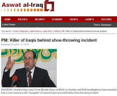 KILLER OF IRAQIS Behind Shoe-Throwing Incident