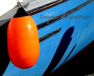blue fishing boat with bright orange float, Hyannis, Cape Cod, Massachusetts