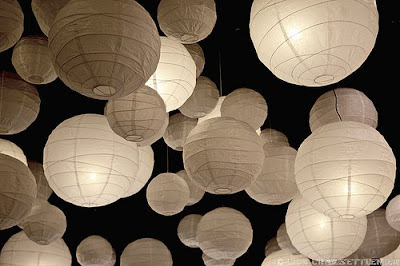 photograph Chinese lanterns black and white