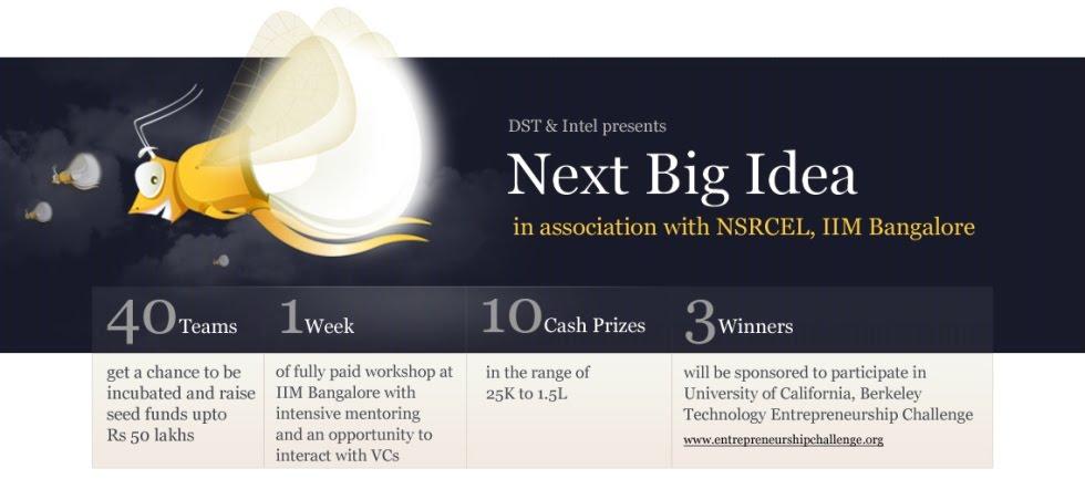 Next Big Idea B Plan Competition Nsrcel Iimb Bangalore India Business Funding Incubation