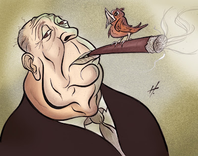 Alfred Hitchcock caricature