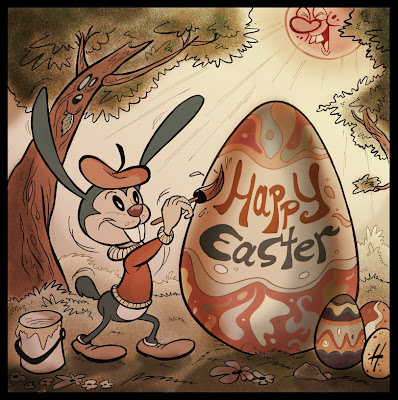 Easter Bunny & Easter Egg cartoon drawing