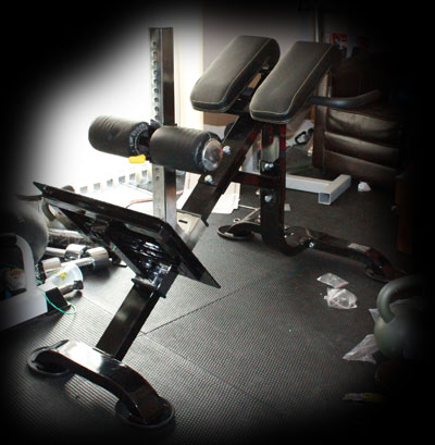Homemade gym stuff powertec dual hyper roman chair for Gimnasio casero