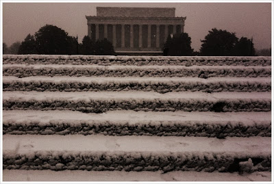 snow on margaret bourke-white steps and lincoln memorial