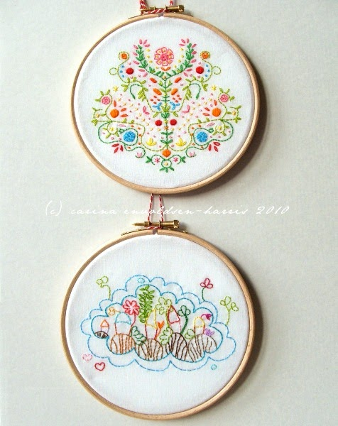 Polka bloom embroidery hoop framing tutorial