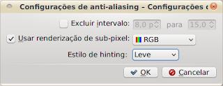 System Settings - janela de configuração de anti-aliasing