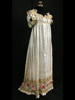 Neoclassic silk evening gown with metallic trim 1800