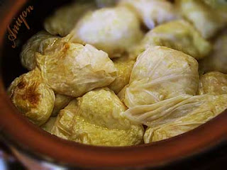 gourmet recipes stuffed cabbage with chicken and leek