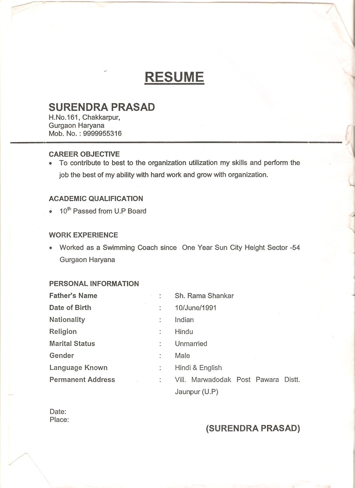 Resume Office Boy,Paintry,Receptionist Etc