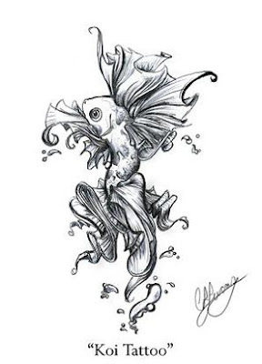 Black And White Beautiful Koi Fish Tattoo Flash