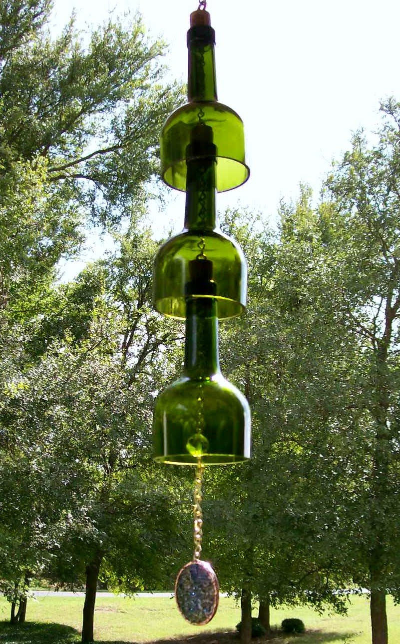 Designs By C D Childs Wine Bottle Wind Chimes Recycled