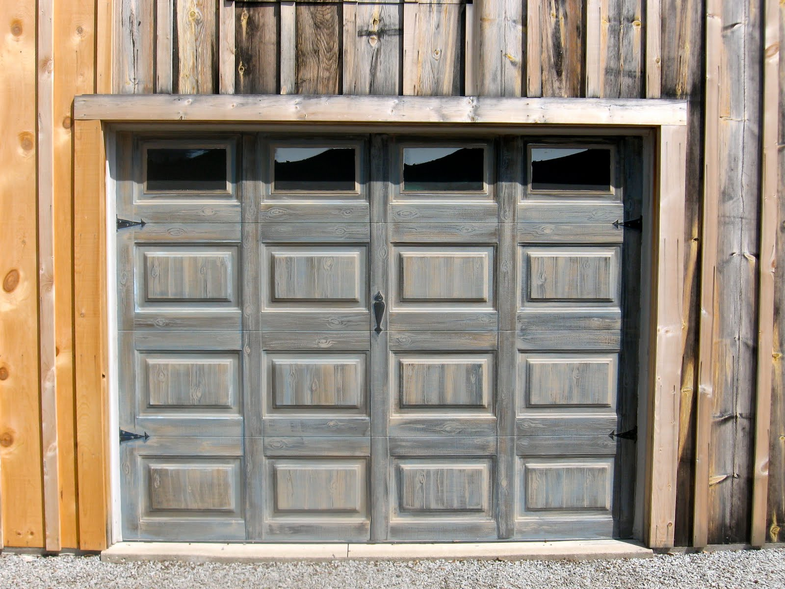 Flourish custom faux painted garage door for How to paint faux wood garage doors