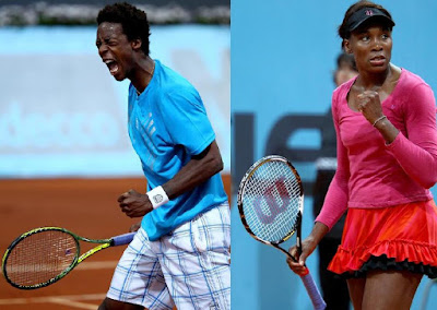 Black Tennis Pro's Gael Monfils and Venus Williams at Madrid Open