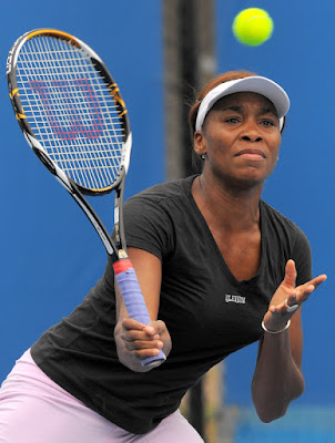 Black Tennis Pro's Venus Williams practicing for Australian Open