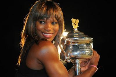 Black Tennis Pro's Serena Williams 2010 Australian Open Trophy Photo Shoot