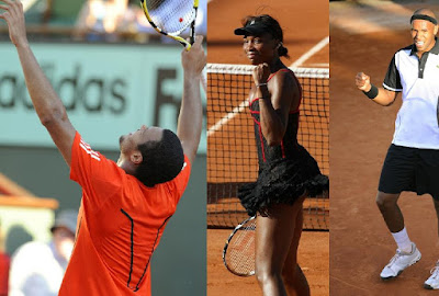 Black Tennis Pro's French Open Day 1 Jo-Wilfried Tsonga,Venus Williams and Josselin Ouanna