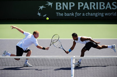 Black Tennis Pro's Lukas Dlouhy and Leander Paes BNP Paribas Open