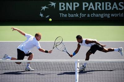 Black Tennis Pro's Lukas Dlouhy and Leander Paes BNP Paribas Open
