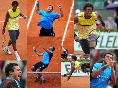 Black Tennis Pro's Jo-Wilfried Tsonga and Gael Monfils 2009 French Open
