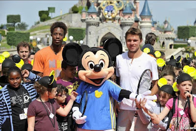 Black Tennis Pro's Gael Monfils, Mickey Mouse and Stanislas Wawrinka at Disneyland Paris