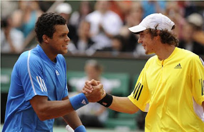 Black Tennis Pro's Jo-Wilfried Tsonga and Guillaume Rufin Benny Berthet Day Exhibition Match