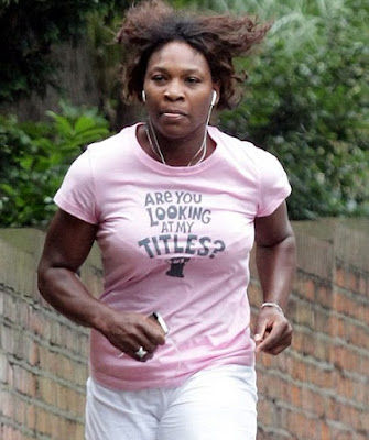 Black Tennis Pro's Serena Williams Jogging In London Ahead of 2009 Wimbledon