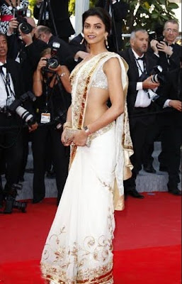 Deepika Padukone in saree at 63rdcannes 20102