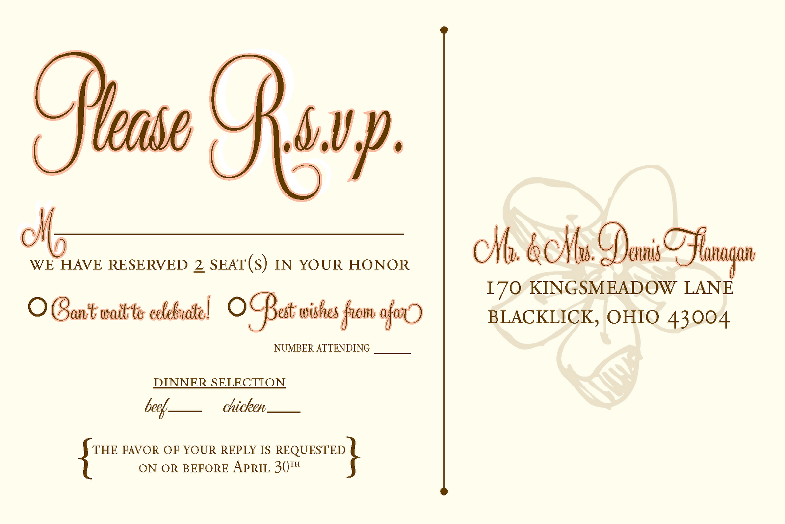 Designs by n wedding rsvp postcards for Wedding rsvp templates