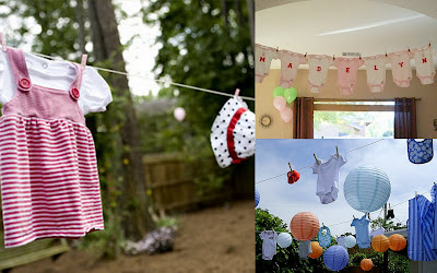 Baby time guest post clothesline baby shower by not just for Baby clothesline decoration