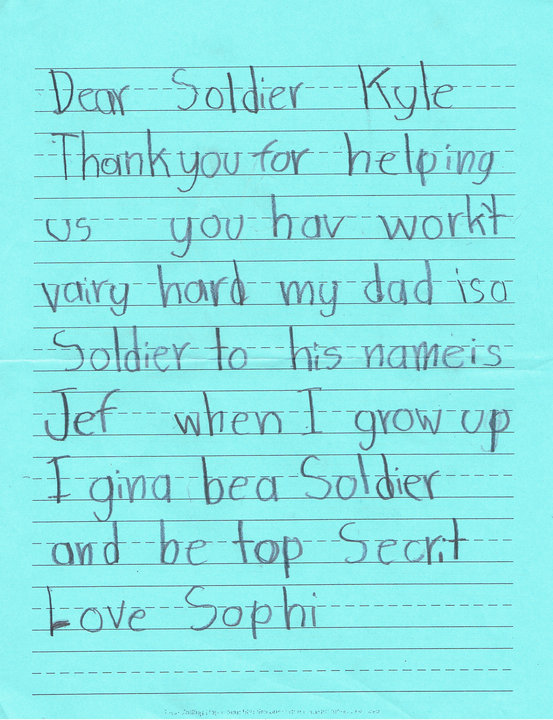 Custom of writing letters to soldiers