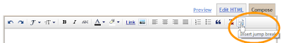 Click on the Jump Break Icon to insert a jump break into a Blogger post