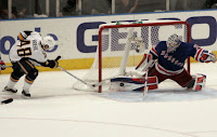 New York Rangers goaltender Henrik Lundqvist pad save on a stuff attempt by Buffalo Sabres' Daniel Briere - Game 4 (AP Frank Franklin II)
