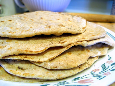 homemade whole wheat tortillas done