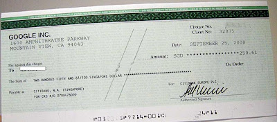 adsense picture of check payment