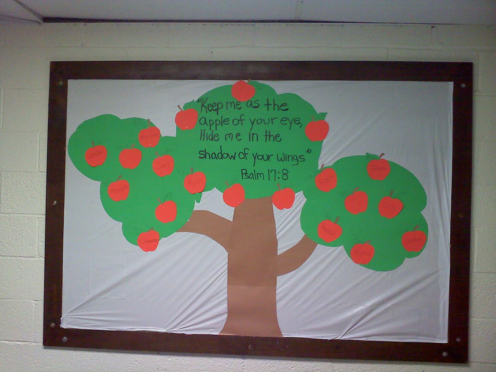 Here is the second stage, each of the apples has one childs name ...
