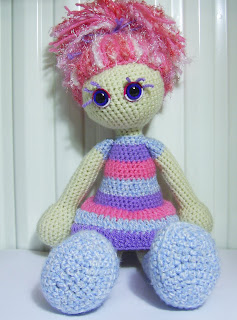 amigurumi crochet craft art doll girl toy blue violet purple pink eyes hair eyelashes handmade unique yarn wool hand leg skirt dress