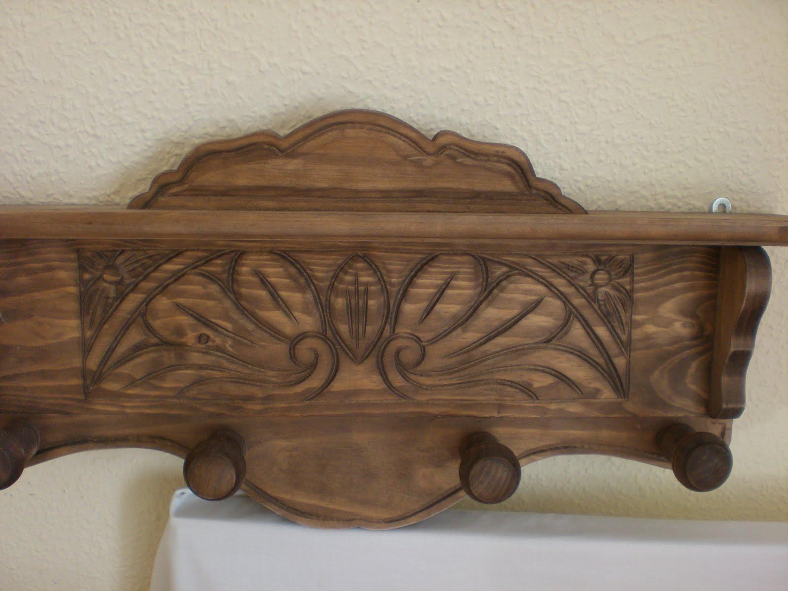 Artesan a r stica en madera perchero de madera tallado a - Percheros en madera ...