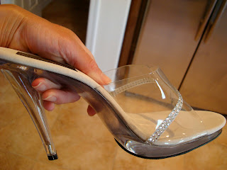 High heeled clear shoes