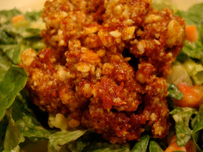 "Raw Vegan Taco Nut ""Meat"" on salad"
