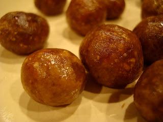 Close up Vegan Peanut Butter Vanilla Balls on plate