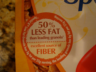 Information on fat and fiber on box