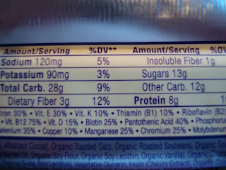 More nutritional information on bar