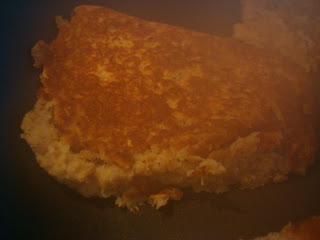 Close up of flipped pancake
